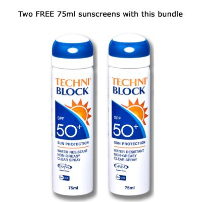 Techniblock® SPF50+ Sunscreen 150ml x 4 + 2 free 75ml sprays